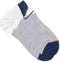 Marcoliani Striped Cotton Blend No Show Socks White