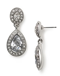Carolee Pave Stone Double Drop Earrings Clear