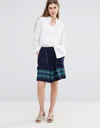 Vanessa Bruno Ath Athe Skater Skirt With Embroidered Detail And Front Pockets Navy