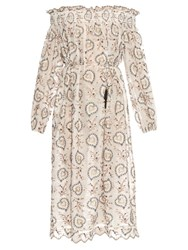 Zimmermann Pavilion Off The Shoulder Smock Dress Cream Multi