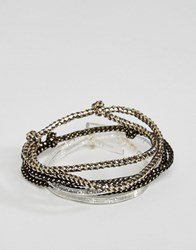 Asos Bracelet Pack In Gold And Glitter Black
