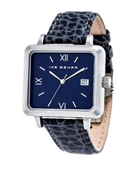 Ike Behar Square Leather Strap Analog Watch Navy Blue