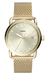 Fossil 'S The Commuter Mesh Strap Watch 42Mm Gold