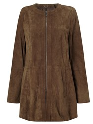 Gerry Weber Zip Through Suede Jacket Nutmeg