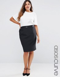 Asos Curve Belted Pencil Skirt Black