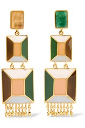 Paula Mendoza Hexagon Gold Plated Enamel And Emerald Earrings