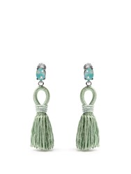 Oscar De La Renta Short Tassel Drop Clip On Earrings Light Green