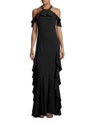 Zac Posen Halter Neck Ruffle Gown Black