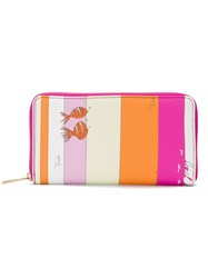 Emilio Pucci Stripes And Fish Zip Around Continental Wallet Pink And Purple