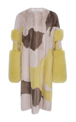 Prabal Gurung Cuff Sleeve Mink And Fox Fur Coat Multi