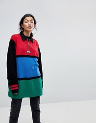 Lazy Oaf Oversized Rugby Shirt With Zip Neck In Colourblock Multi
