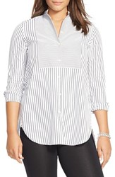Plus Size Women's Lauren Ralph Lauren Striped Bib Poplin Tunic White Black