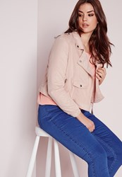 Missguided Plus Size Faux Suede Biker Jacket Pink Pink