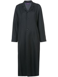 Y's Boxy Long Coat Polyester Wool Black