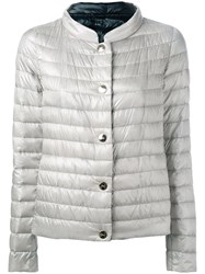 Herno Collarless Puffer Jacket Grey