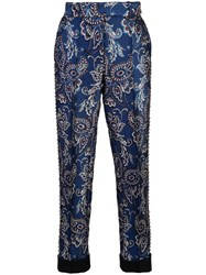 Vera Wang Grommeted Embroidered Trousers Blue