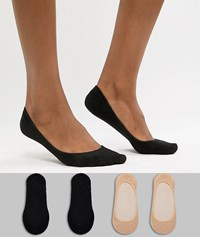 Gipsy 4 Pack Footsie Socks Black Nude Multi