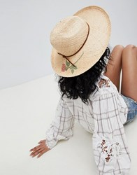 Brixton Straw Fedora With Printed Rose 00590 Tan Beige