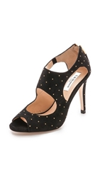 Lk Bennett Alma Open Toe Studded Sandals Black Gold