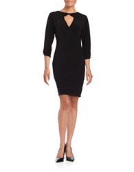Adrianna Papell Solid Ruched Dress Black