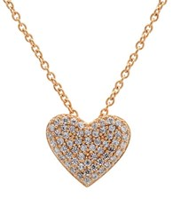 Crislu Simply Pave Sterling Silver And Cubic Zirconia Heart Pendant Necklace Rose Gold