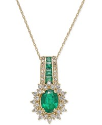 Macy's Emerald 1 1 3 Ct. T.W. And Diamond 1 2 Ct. T.W. Pendant Necklace In 14K Gold Green