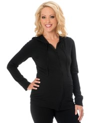 Motherhood Maternity Long Sleeve Zip Front Maternity Hoodie Black