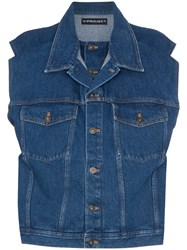 Y Project Denim Sleeveless Jacket Blue