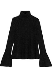 Oscar De La Renta Metallic Ribbed Wool Blend Turtleneck Sweater Black