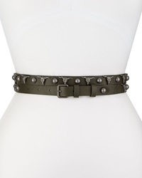 Haute Hippie Long And Winding Road Belt With Longhorn And Round Studs Asphalt Gunmetal
