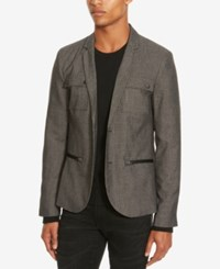 Kenneth Cole Reaction Men's Chambray Military Blazer Black Combo