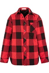 Balenciaga Oversized Quilted Checked Canvas Shirt Red