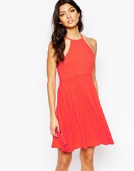 Mango Halter Neck Swing Dress Red
