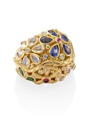 Temple St. Clair Flower Serpent Diamond And Semi Precious Multi Stone Ring No Color