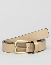 Smith And Canova Skinny Belt In Hold Metallic Gold