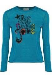 Red Valentino Jacquard Knit Wool Silk And Cashmere Blend Sweater Turquoise