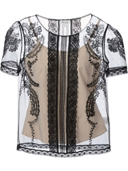 Alice By Temperley Embroidered Sheer Top Black