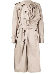 Y Project Asymmetric Trench Coat Neutrals
