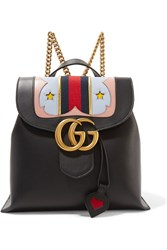 Gucci Gg Marmont Canvas Trimmed Leather Backpack Black