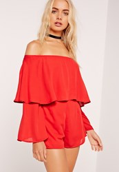Missguided Double Layer Bardot Playsuit Red