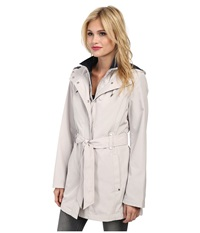 Nautica Hooded Zip Front Layered Jacket Pebbel Marine Women's Coat Neutral