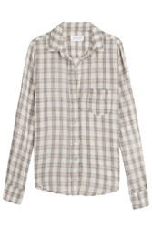 Velvet Checked Shirt With Cotton Beige