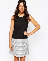 Helene Berman Top Bottom Shift Dress With Metallic Stripe Blackandwhite
