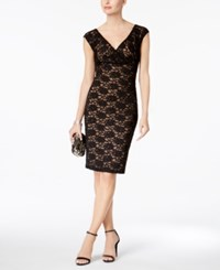 Connected Sequined Lace Sheath Dress Black Gold