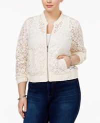 American Rag Trendy Plus Size Lace Bomber Jacket Only At Macy's Egret