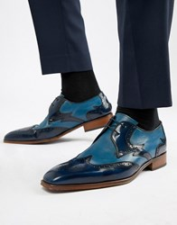 Jeffery West Capone Brogue Shoes In Blue