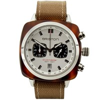 Briston Clubmaster Sport Chronograph Watch Tortoise White And Khaki