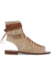 Belstaff Lace Up Suede Sandals Taupe