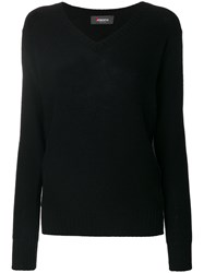 Jo No Fui V Neck Pullover Polyester Cashmere Wool S Black