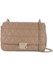 Michael Michael Kors Sloan Quilted Shoulder Bag Nude And Neutrals